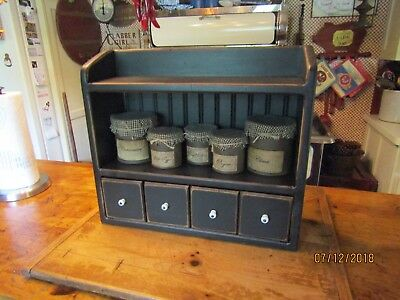 Farmhouse Primitive Wooden Apothecary Cupboard - 2 Display Shelves/4 Drawers