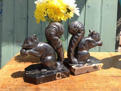 Vintage French Art Deco Book Ends Black Marble Mounted Squirrel Statue 30's Chic