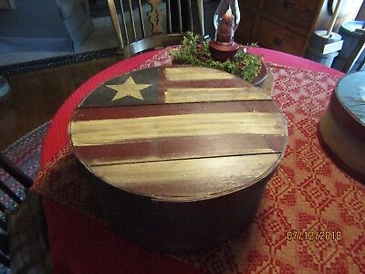 Americana - Large Round Wooden Pantry Box -Red, White And Blue Flag Lid