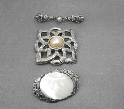 Vintage Brooch Lot Mother of Pearl Marcasite Rhinestone Faux Pearl