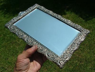 Beautiful Antique Victorian Ornate Hm 1897 Sterling Silver Framed Desk Mirror