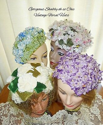 Lot Vintage Shabby So Chic Flower Power HATS MILLINERY NETTING BOWS 40's 50's