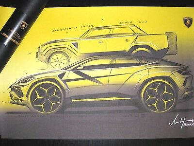 Lamborghini SUV LM002+Urus Presse/Launch Media Event Design Poster/Skizze/sketch