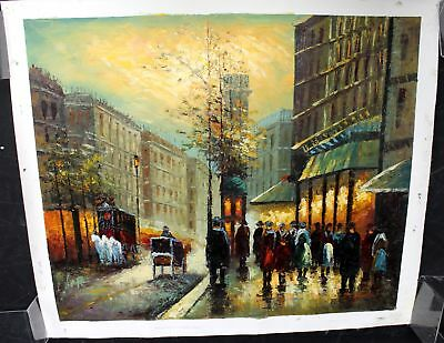 D WARD Large Original Vibrant Cityscape Canvas Oil Painting - W05