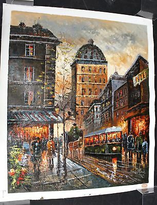 Large Signed Original Vibrant Cityscape Canvas Oil Painting - W05