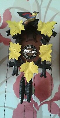5 Leaf Vintage Regula Black Forest Cuckoo Clock E.schmeckenbecher West Germany