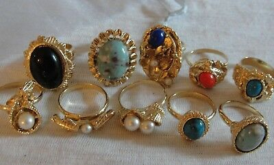 Vinatge Lot Of 10 Adjustable Ladies All Great Rings Faux Turquoise & Pearl