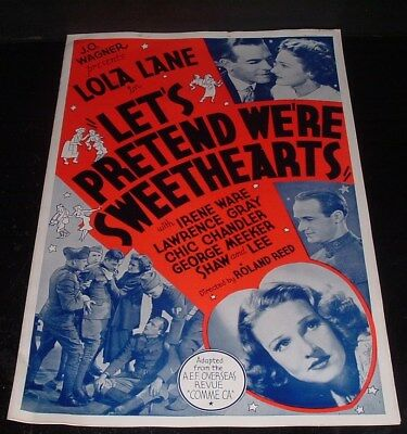 LQQK vintage 1930s press book, LOLA LANE in LET'S PRETEND WERE SWEETHEARTS