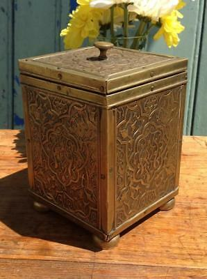 Antique Victorian Tea Caddy Anglo Indian Art Nouveau Brass Box c1890 Rustic Chic