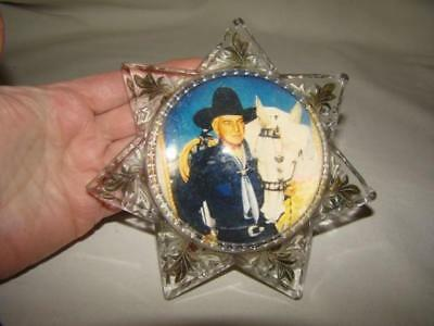 Antique GOOFUS GLASS Dome 7-Point MAGNIFYING STAR Paperweight, Hopalong Cassidy