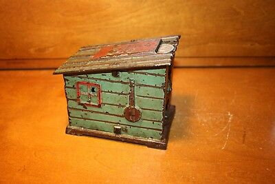 Black Americana Cast Iron Cabin Mechanical Bank J & E Stevens c 1883 Nice !