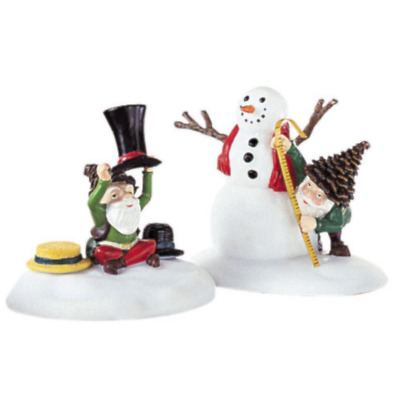 Dept 56 North Pole Woods - Tailored For You 56921 Set 2 Elf Snowman Brand New
