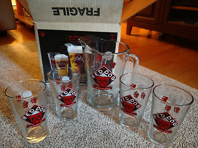 5pc Red Dog Beer Set; Pitcher & Four Pint Glasses In Original Box Plank Brewery