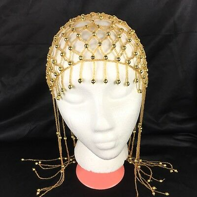 Womens beaded cap hat Cleopatra headdress belly dance costume gold #CP