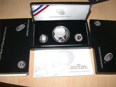 2015 March of Dimes Commemorative $1 Proof Silver Dollar Reverse Dime 3 Coin Set