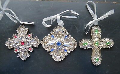 TOWLE Silver plated metallic Cross jewel blue green red tree star ornament lot