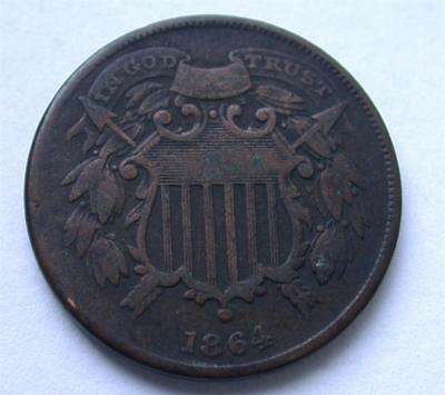 1864 Copper 2 Two Cent piece Civil War Coin