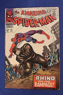THE AMAZING SPIDER-MAN #43  1966 unread -RHINO  APPEARANCE  Marvel comic