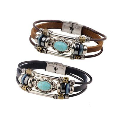 Retro Leather Turquoise Bracelet Magnetic-Clasp Cowhide Mens Bracelet Jewelry