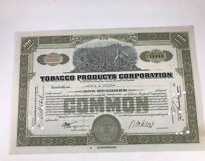 Antique Early 1900'S 100 Share Certificate From Tobacco Products Corporation