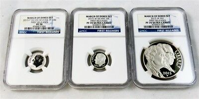 2015 W&P March of Dimes Silver Proof Set -NGC PR70 Ultra Cameo- First Releases