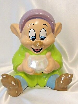 "Vintage Disney Dopey Ceramic Piggy Bank Seven Dwarfs 7"" Tall Used"