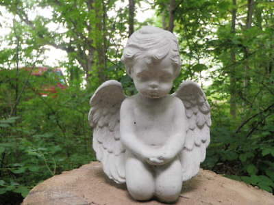 "Cement 6 1/2"" Kneeling Angel Cherub Garden Concrete Statue Hope"