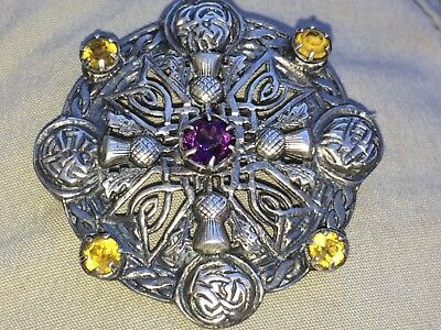 Beautiful Vintage  Sterling Silver Scottish THISTLE Brooch W/ Stones