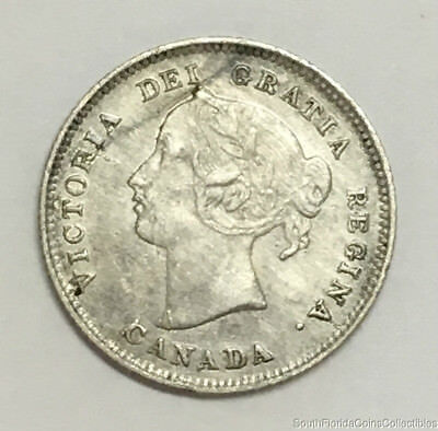 World Coin 1897 Canada 5 Five Cent Sterling Silver Coin Uncirculated Details