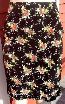 Vintage 90s S M Black Floral Roses Boho Grunge Ruffle High Waist Pencil Skirt