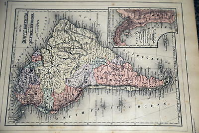 1887 Huge Rare Beautiful Antique Mitchell Atlas Map-South America-Handcolored