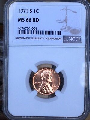 1971-S Lincoln Cent NGC MS 66 Red * Rare! Super nice! *