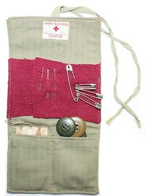 Original US WWII American Red Cross Donated Sewing Kit With Original Items
