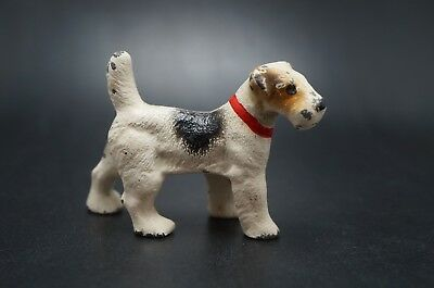 VTG Painted HUBLEY Cast Iron FOX TERRIER Puppy Dog Party Favor