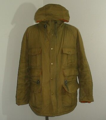 Mens BARBOUR WESSEX Flannel Lined HOODED Waxed Cotton Parka Coat Jacket XL