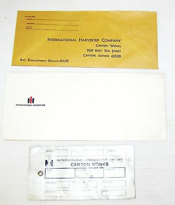 International Harvester--Canton, Il.--2 Envelopes, 1 Routing Tag