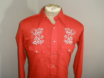 Vintage H BAR C Floral ROSES EMBROIDERED WESTERN PEARL SNAP SHIRT USA MADE M