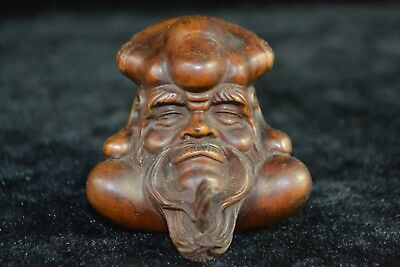 chinese culture Collectible Old boxwood Carve immortal head rare netsuke Statue
