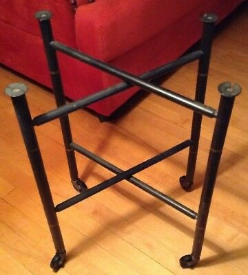 Mid Century Vintage Painted Black Wood Tole Tray Stand for Side or Coffee Table