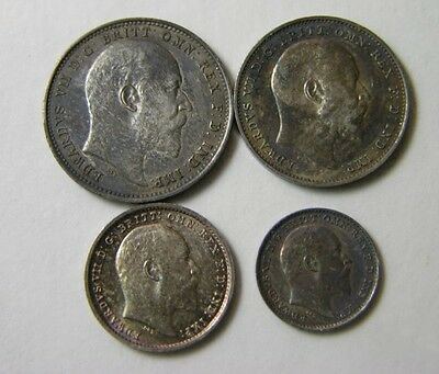 elf  Great Britain 4 pc 1907  Silver  Edward VII   Maundy  Set