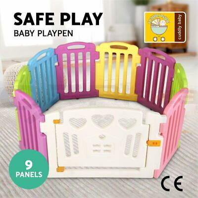 cuddly baby 9 Panel Baby Playpen Kids Toddler Plastic Gate Safety Lock Divider