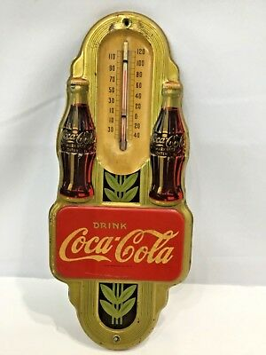 Vintage RARE 1942 Coca Cola Coke Embossed Tin Thermometer Sign 2 Bottles