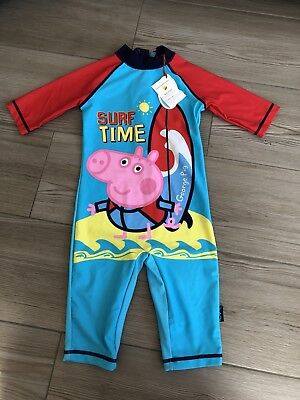 BNWT Boots Mini Club George Peppa Pig Sunsafe UV/SPF Swimsuit age 4-5 years