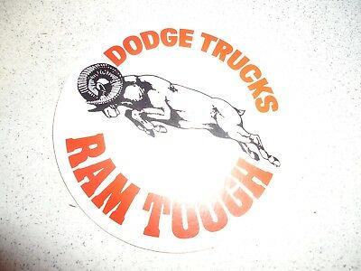 "Vintage 1970's Original Dodge Trucks Ram Tough 4 1/8"" Round Sticker"