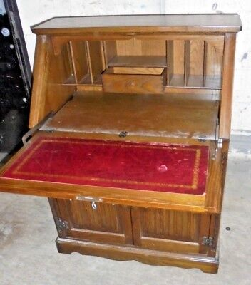 Vintage Tudor / Victorian Style Solid Oak Dark Wood Writing Desk / Bureau - S88