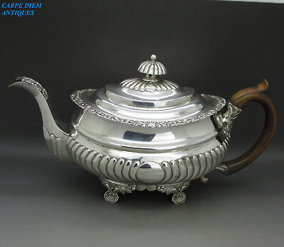 ANTIQUE GEORGIAN NICE HEAVY SOLID STERLING SILVER TEAPOT, 819g, LONDON 1817