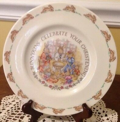 "1936 Royal Doulton England 8"" Bunnykins Plate ~ Celebrate Your Christening"