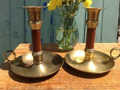 Antique Brass Candle Sticks Wooden Stem Matching Pair 1880 Victorian Rustic Chic