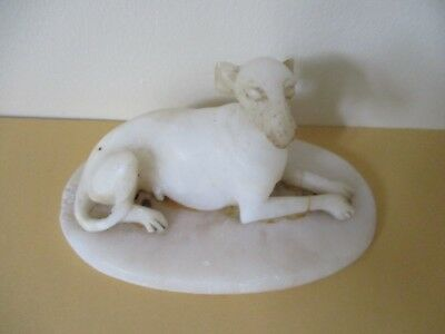 SMALL HAND CARVED ALABASTER MODEL OF A DOG c.1890/1900
