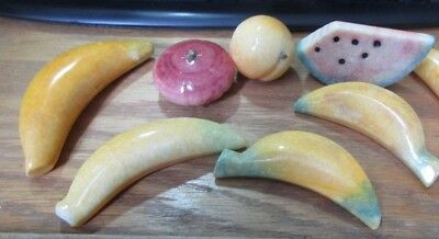 7-Pc Hand Carved Marble/Onyx/Stone Decorative Fruit Bananas Watermelon Peach GUC
